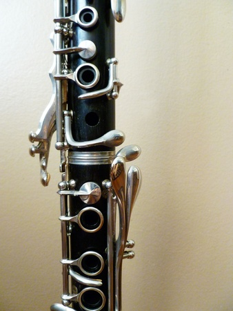 A detailed view of the two clarinet joints. Stock Photo