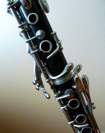 A diagonal view of the two clarinet joints. Stock Photo