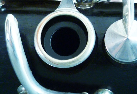 A macro view of the clarinet.