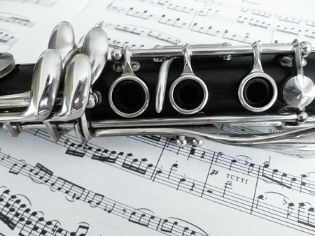 Sheet music with the bottom clarinet joint. photo