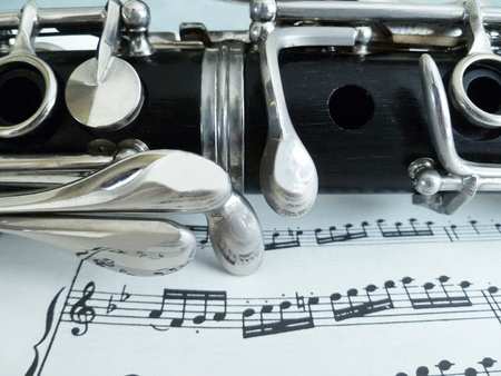 Sheet music with a close up view of the clarinet. Stock Photo - 10294915