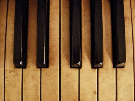 A scale of notes on the piano. photo
