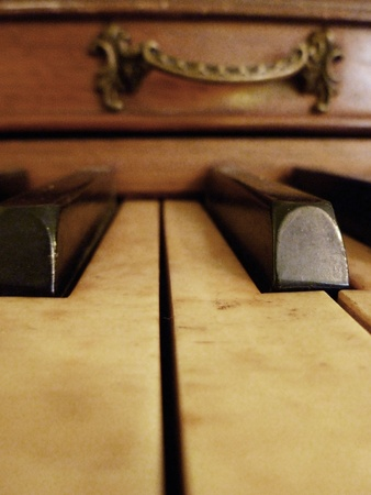 A close up view of piano keys. photo