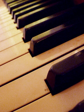 A diagonal view of the piano keys.