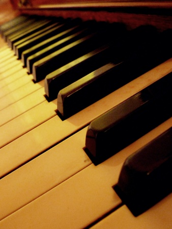 A lengthened view of the piano keys.