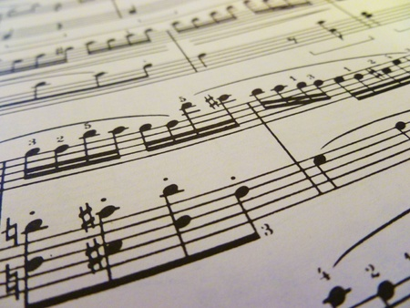 A diagonal view of sheet music. photo