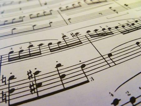 sheet music: A diagonal view of sheet music. Stock Photo