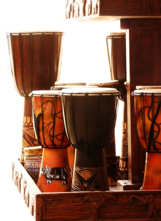 A group of primitive drums.