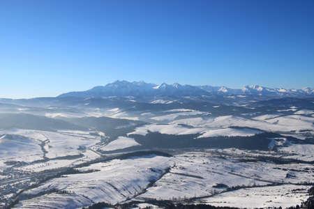 Panorama of the Tatra Mountains, Tarts in winter