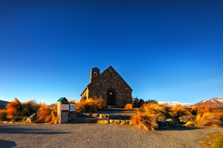 good shepherd: blue sky with great landscape at Church of the good shepherd Stock Photo