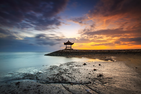 Sanur Beach in the morning with beautiful sunrise.
