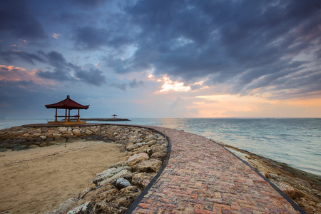 sanur: Sanur Beach in bali indonesia with moving cloud. Stock Photo