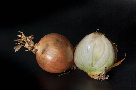 Onion  isolated with black background