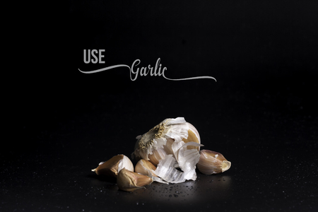 flavorful: Fragrant garlic isolated with black background and test write.