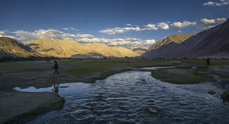 Nubra Valley India, 27 Nov 2017, Ladakh India, Unidentifie people at Hunder Sand Dunes of Nubra Valley in Leh Ladakh, Jammu and Kashmir, India Editorial