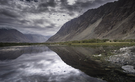 reflection scenery during traveling to leh Ladakh.