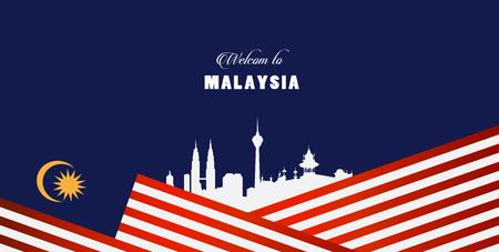 Bandiera della malesia di illustrazione vettoriale e benvenuto al segno della malesia. Vettoriali