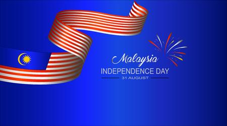 Ilustración vectorial del DÍA DE LA INDEPENDENCIA DE Malasia y la bandera de Malasia Ilustración de vector