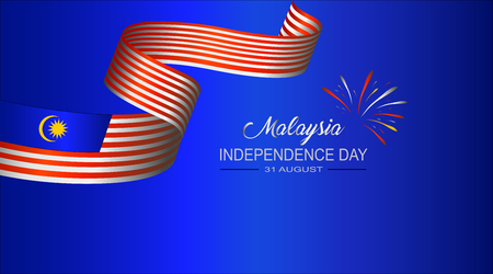 Vector Ilustration van de ONAFHANKELIJKHEIDSDAG van Maleisië en de vlag van Maleisië Vector Illustratie