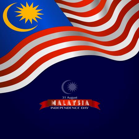 Illustration vectorielle de la journée de l'indépendance de la Malaisie et drapeau de la Malaisie Vecteurs