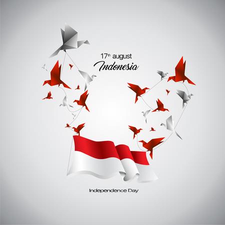Vector bandera de Indonesia y pájaros origami.