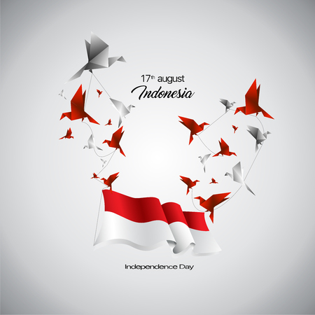 Vector Indonesia Flag and birds origami. Çizim