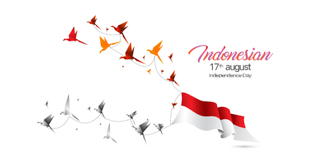 Vector Indonesia Flag and birds origami. Stock Illustratie