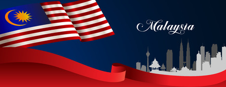 Vector illustration malaysia flag and welcome to malaysia sign. Banner, Broucher or templet art element.