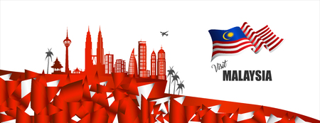 벡터 일러스트 레이 션 말레이시아 국기와 말레이시아 기호에 오신 것을 환영합니다. 배너, Broucher 또는 주형 예술 요소.