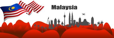 Illustration vectorielle fête de l'indépendance avec le drapeau de la Malaisie.