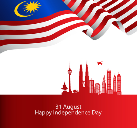 Malaysia brochure cover vector, independence day. Malaysia National Day.  graphic for design element Vettoriali