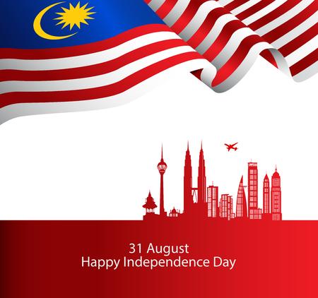 Vettore di copertina dell'opuscolo della Malesia, giorno dell'indipendenza. Festa nazionale della Malesia. grafica per elemento di design