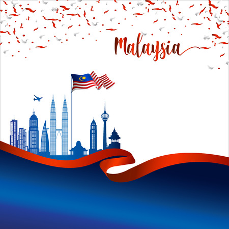 Malaysia brochure cover vector, independence day. Malaysia National Day.  graphic for design element Çizim