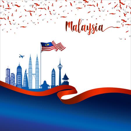 Vector de portada de folleto de Malasia, día de la independencia. Día Nacional de Malasia. gráfico para elemento de diseño
