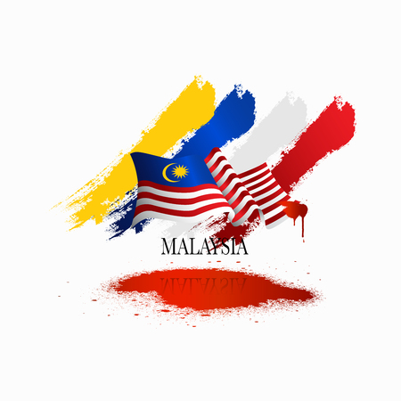 Vector illustration malaysia flag with Malaysia  text. Banner or templet for broucher art element. Çizim