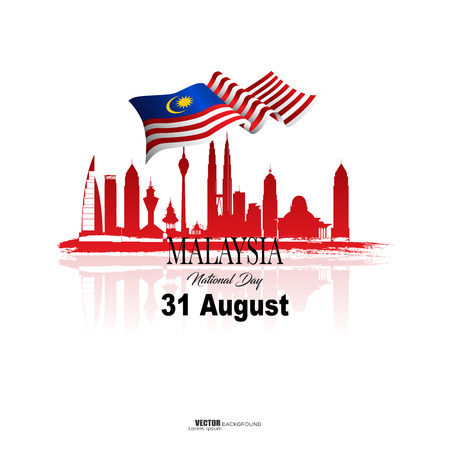 Vector illustration malaysia flag with Malaysia  text. Banner or templet for broucher art element. 向量圖像