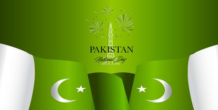 Pakistan Independence day vector illustration, design template, banner or art element. Illustration