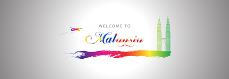 Vector Illustration welcome to malaysia, Banner, element, and graphic.
