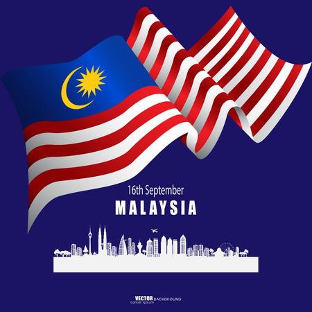 Vector Illustration Malaysia Day, 16 September, banner, element and art. Illusztráció
