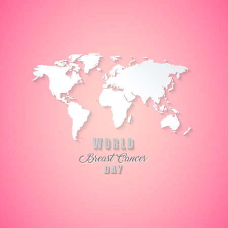 Breast Cancer Awareness world map. Vector design and illustration. 일러스트