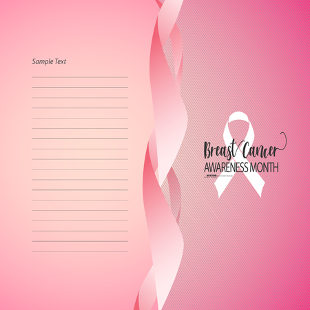 Vector Illustration Breast Cancer Awareness Ribbon with templet. Vector design and illustration for banner, templet and art element.