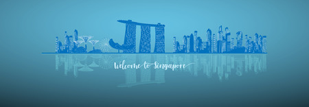 Vector Illustration Travel infographic with blue background. Singapore infographic; welcome to Singapore. Travel to Singapore presentation template