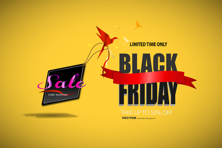 Black Friday sale black tag, banner, advertising, vector illustration templet, art element. with yellow background.
