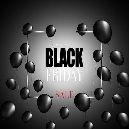 Vector illustration with ballon and word black friday as a background for banner, templet, broucher, and art illustration for advertising, Illusztráció