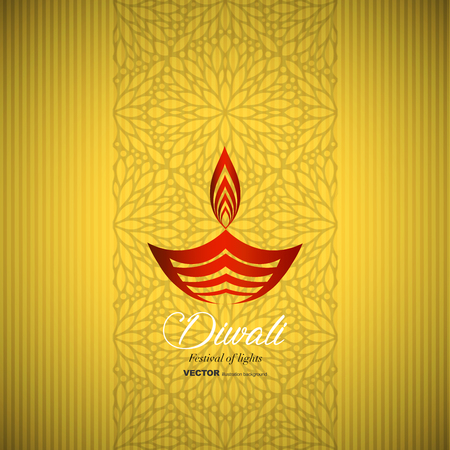 Happy Diwali traditional Indian festival greeting card with ornament background vector illustration.
