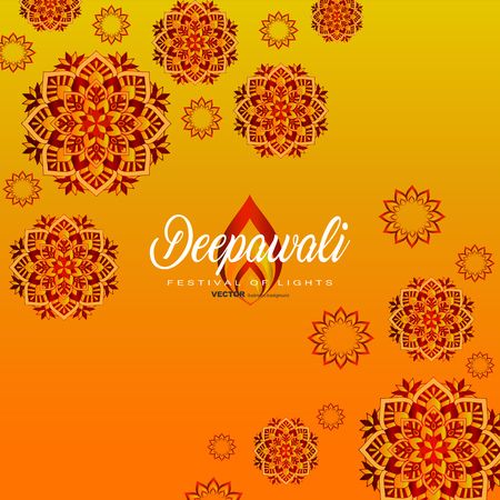 Happy Diwali traditional Indian festival greeting card with ornament background vector illustration. Stockfoto - 110726016