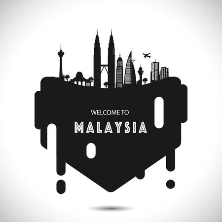 Malaysia City Modern Skyline Vector Template - Vector