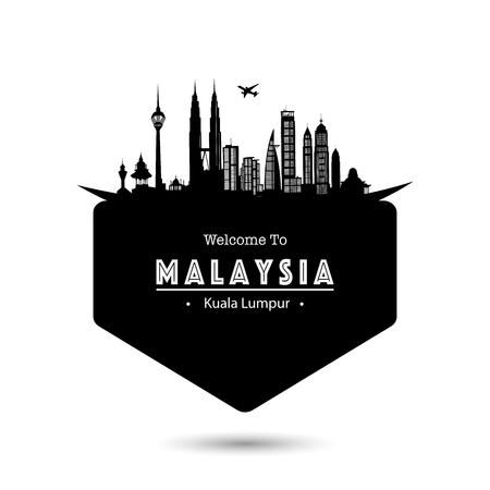 Malaysia City Modern Skyline Vector Template - Vector Illusztráció