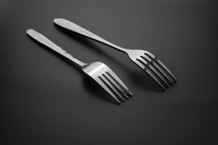 fork cutlery isolated on black background, clipping path. Black and white. Stok Fotoğraf - 131679113