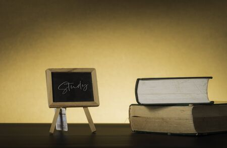 Symbolic hard study is powerful to succeed, concept with book and alarm clock. Time in business and quality